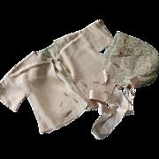 Pale Peach Silk Hand Crochet Lace Baby Bonnet & Jacket w Silk Embroidery Ribbon Rosettes