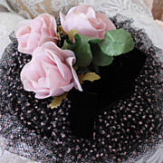 Vintage Millinery Hat Pink Roses Velvet  Flocked  Net for  Doll