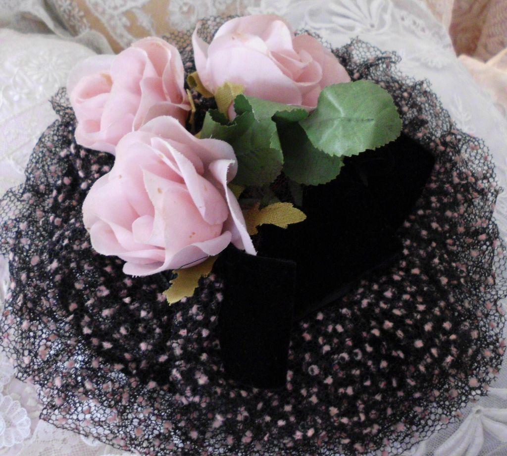 Vintage Millinery Hat Pink Roses Velvet  Flocked  Net for  Doll