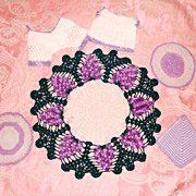 Lot #3  Large &  Small Crochet Doily and Pot Holders Lavender