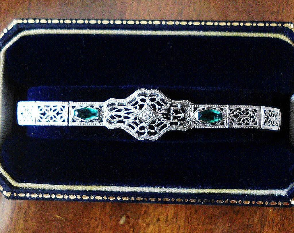 14 Karat White Gold Art Deco Filigree Lace Bracelet