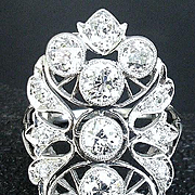 Large Edwardian Platinum Diamond Ring 3.30 ctw