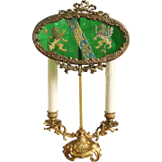 Superb Bronze French Shield Lamp with Enamel Glass Crest Griffins