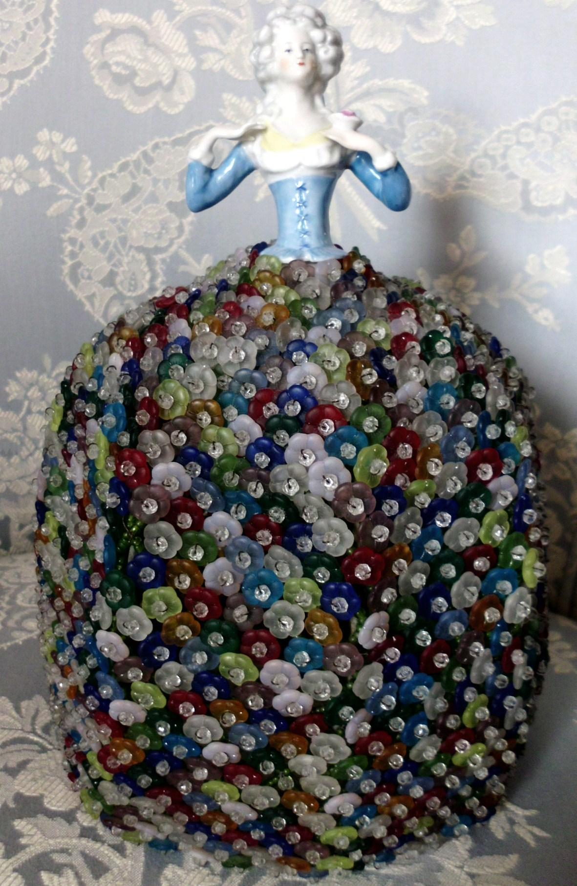Czech  Glass Beaded Lamp Shade w Porcelain German Half Doll