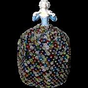Czech  Glass Beaded Lamp Shade w Porcelain German Half Doll