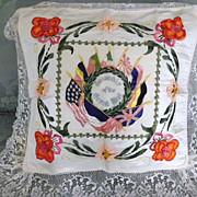 Souvenir Silk Ribbon Rosette Embroidery  Lace  Pillow Cover
