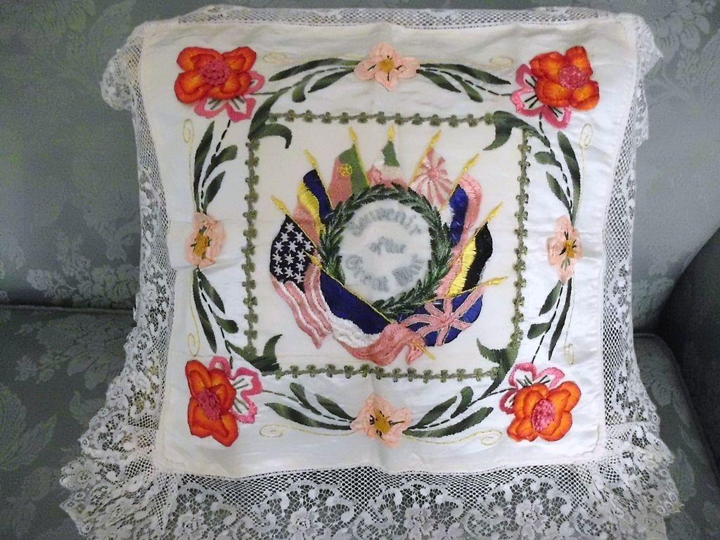 Souvenir Silk Ribbon Rosette Embroidery  Lace  Pillow Cover