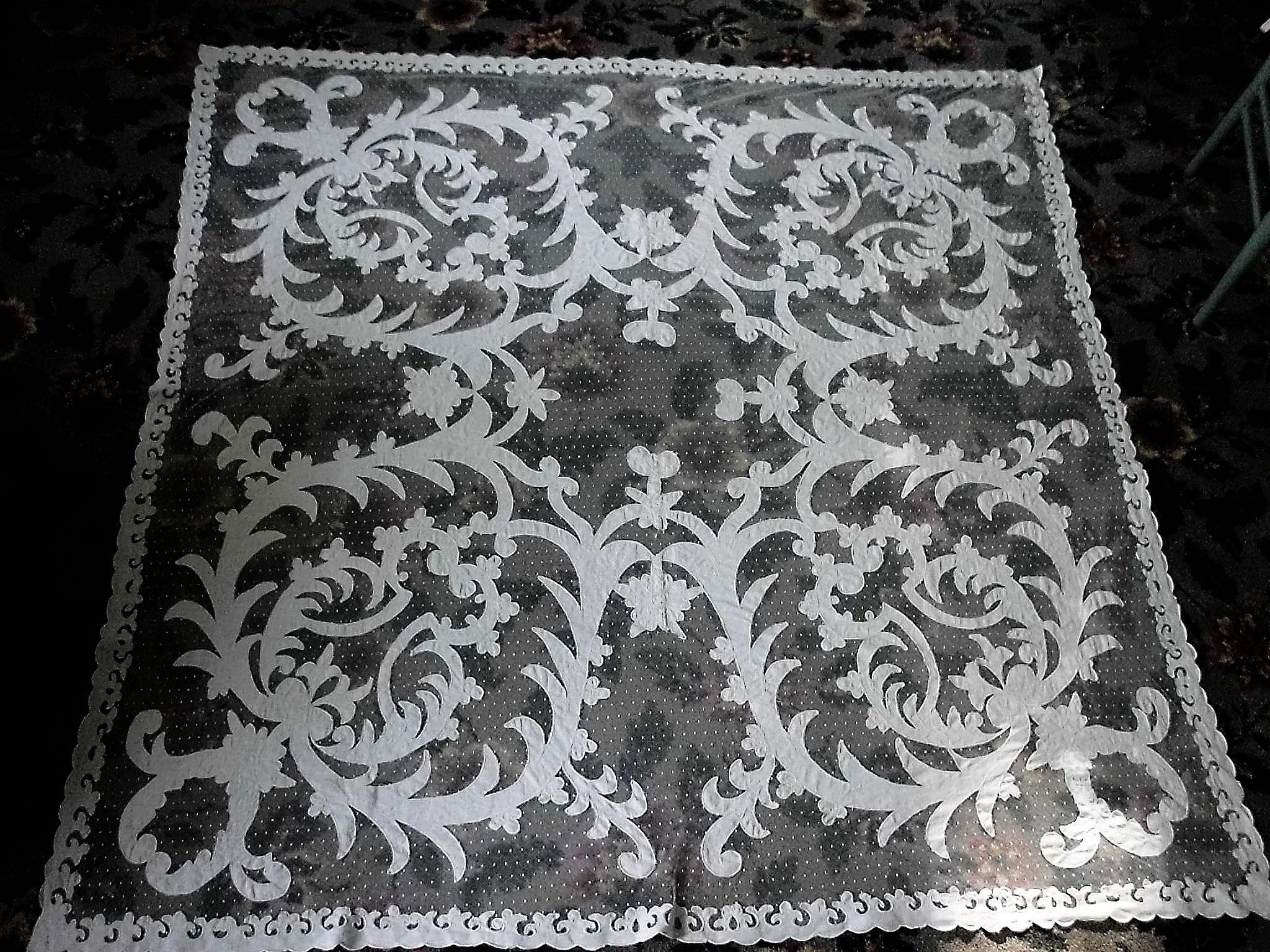 Large White French Tambour Net Lace Tablecloth Table Topper Panel 68""