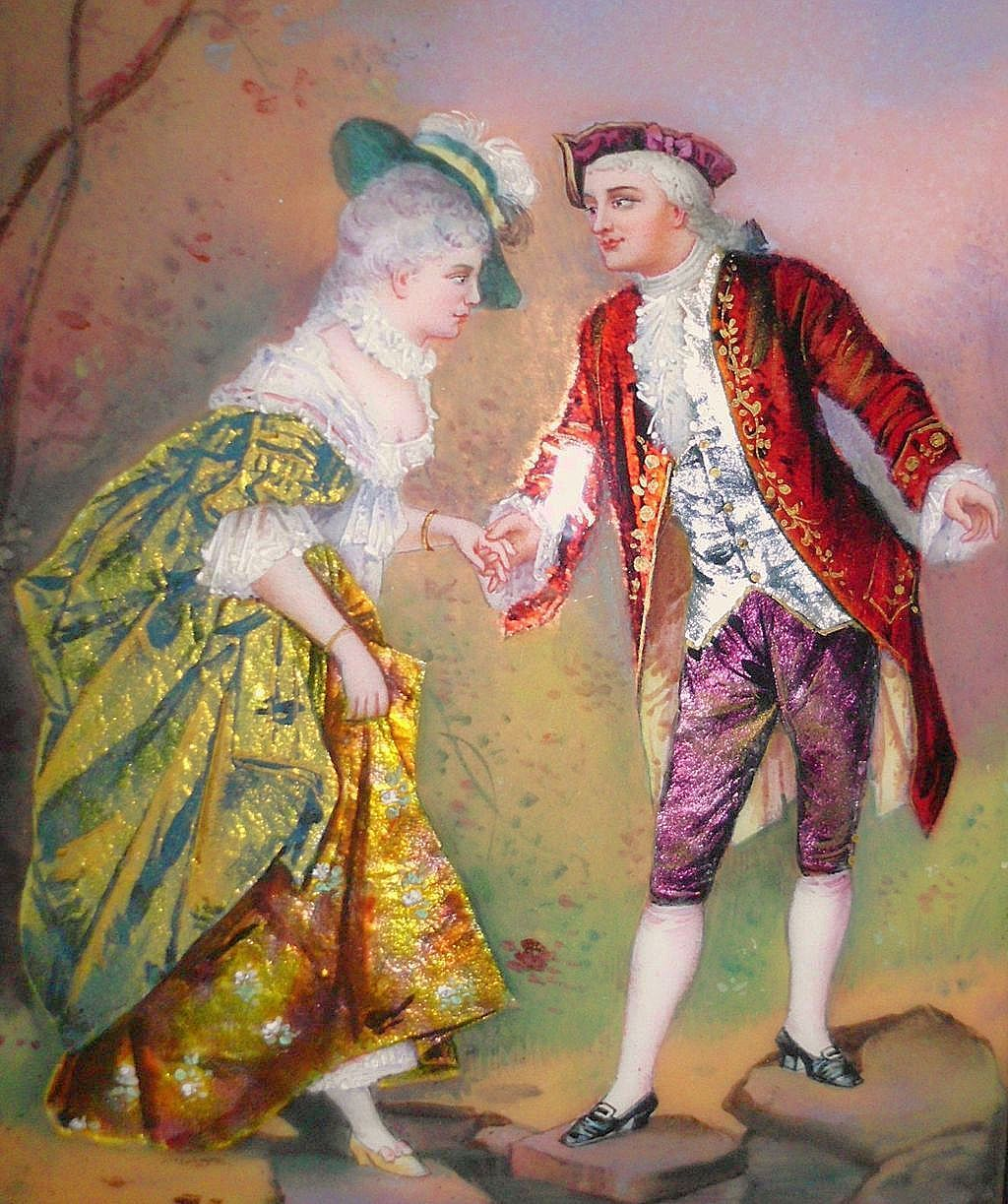 "French Enamel and Foil Portrait of Gent and Lady 3.5"" by 4.75"""