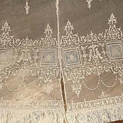 2 French Tambour Net Lace Lace Figural Panels Curtains Birds, Fleur de lis, Portraits