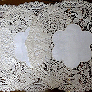 3 Round Machine Made Figural Mermaid Lace Linen Doilies