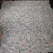 """Ecru French Embroidered Tambour Net Lace Panel, Bedspread, Curtain, Tablecloth 81"""" by 85"""""""