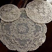 18 Piece Set  Light Ecru or Cream French Alencon Lace Doily Luncheon Set