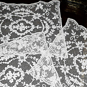 Set of 3  Creamy White French Tambour  Net Lace Doily