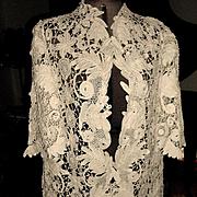 Antique Creamy White Tape Lace Battenburg Coat Jacket
