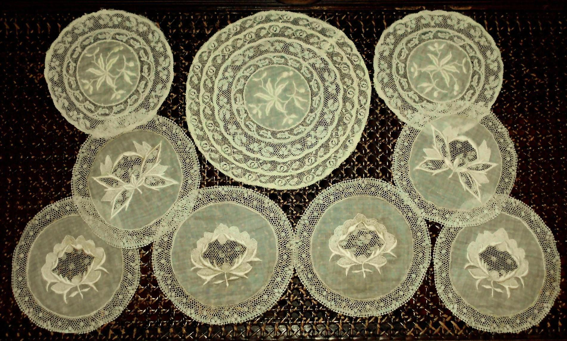 9  Embroidered Normandy Lace Round Doily Fragments
