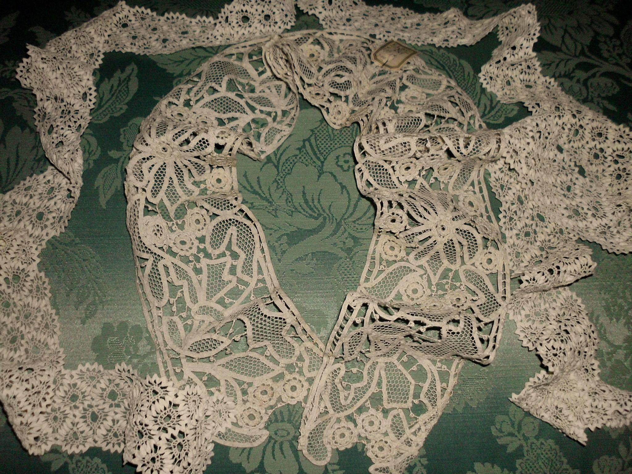 2 Lengths of Old Crochet and Tape Lace Yardage Unused