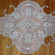 Large Tambour Net Lace Embroidery Panel Fragment from Bedspread