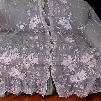 1 Pair of White  French Tambour Net Lace Curtains for cutters