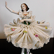 Germany Porcelain Dresden Lace  Ballerina Figurine  Excellent Condition