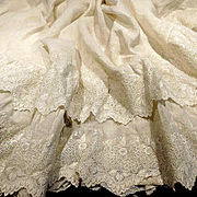 Gorgeous Muslin Cream Double Ruffle White Work Embroidery Flounce From Gown