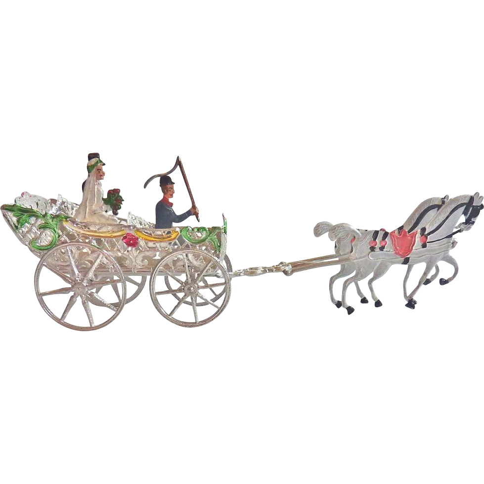 Rare GERMAN Schweizer Pewter WEDDING Horse Drawn Carrriage