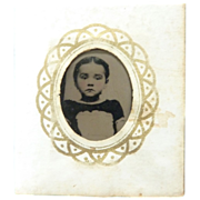 Sweet Miniature Framed GEM Tintype Young Girl Perfect for DOLLHOUSE