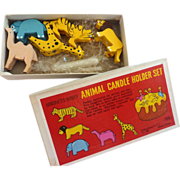 Vintage Unused Handcrafted Wooden ANIMAL Candle Holder SET in Original Box