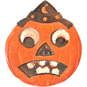 1920's German HALLOWEEN Embossed Diecut JACK o'Lantern with Witch HAT