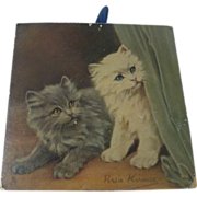 Antique Raphael TUCK Kittens Heavy Cardboard hanging 'Happy New Year' Persis Kirmse