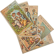 Rare Set of 6, Unused 1882 Whimsical Cat Trade Cards, Salesman Sample
