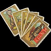 Rare Series of 6, Unused 1881 Whimsical Cat Trade Cards, Salesman Sample
