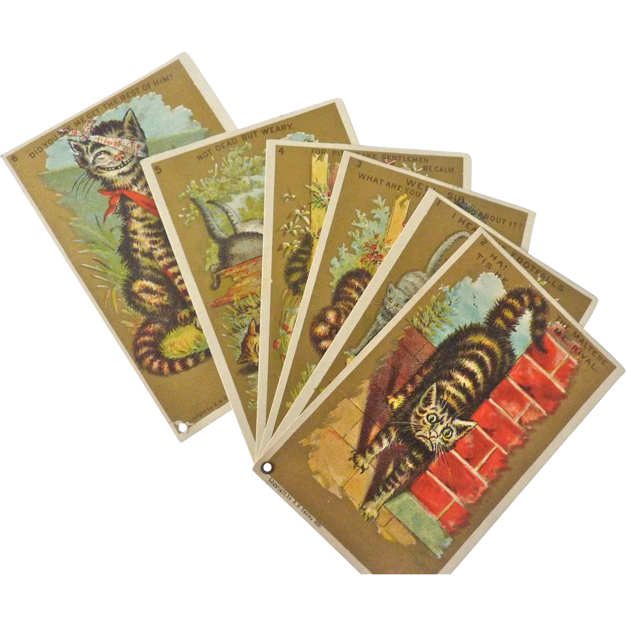 Rare Series of 6, Unused 1881 Whimsical Cat Trade Cards, Salesman Sample