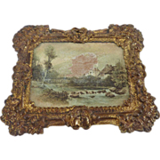 Antique German Erhard & Sohne DOLL HOUSE Miniature Frame w Lithograph - Red Tag Sale Item