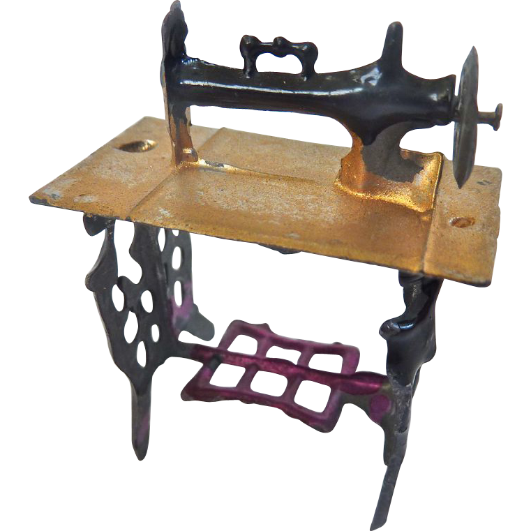 Antique German Soft Metal Miniature DOLLHOUSE Sewing Machine