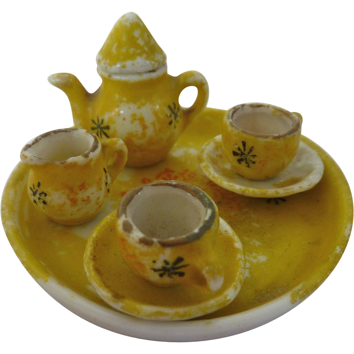 Antique German Miniature DOLLHOUSE Doll Painted Porcelain Tea set DISHES