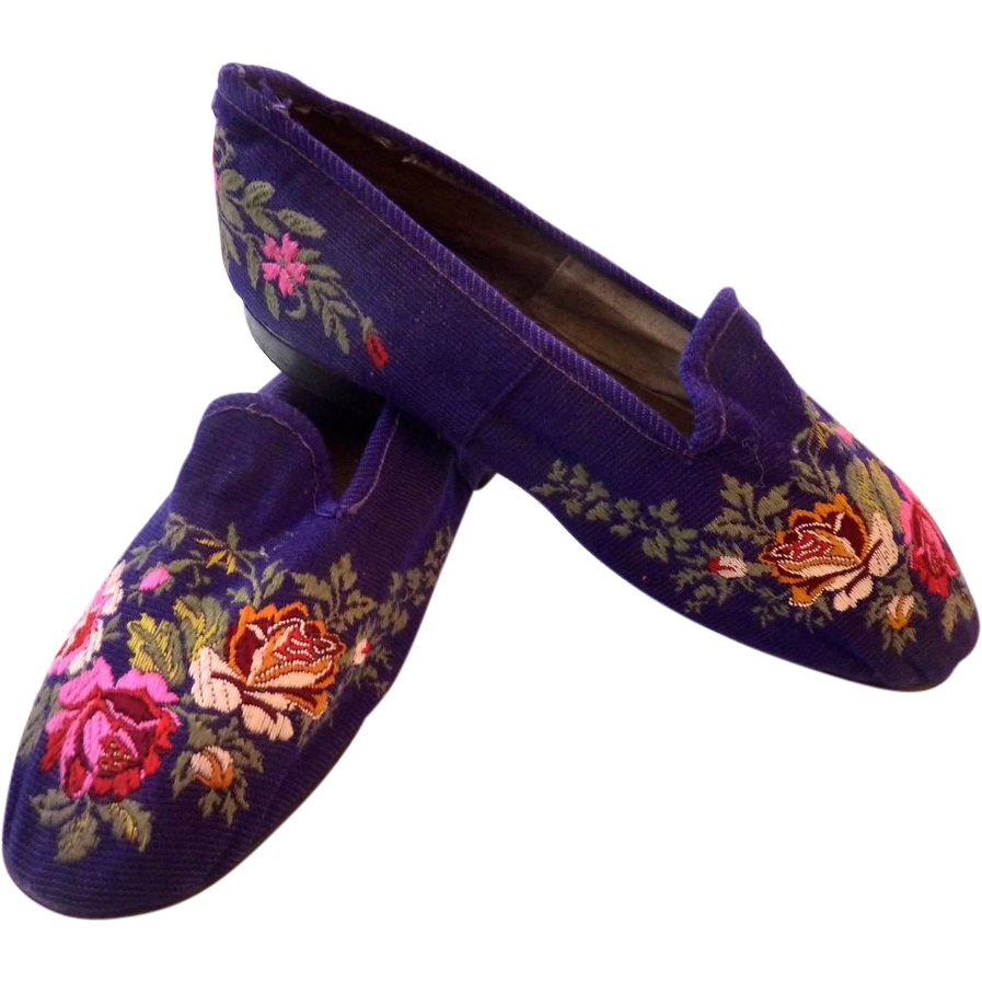 RARE Antique SIGNED Ca 1850-60 French Embroidered SLIPPER ...