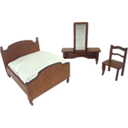 Antique GERMAN Miniature DOLLHOUSE Bedroom SET of 3 including Bed, Vanity Table & Chair