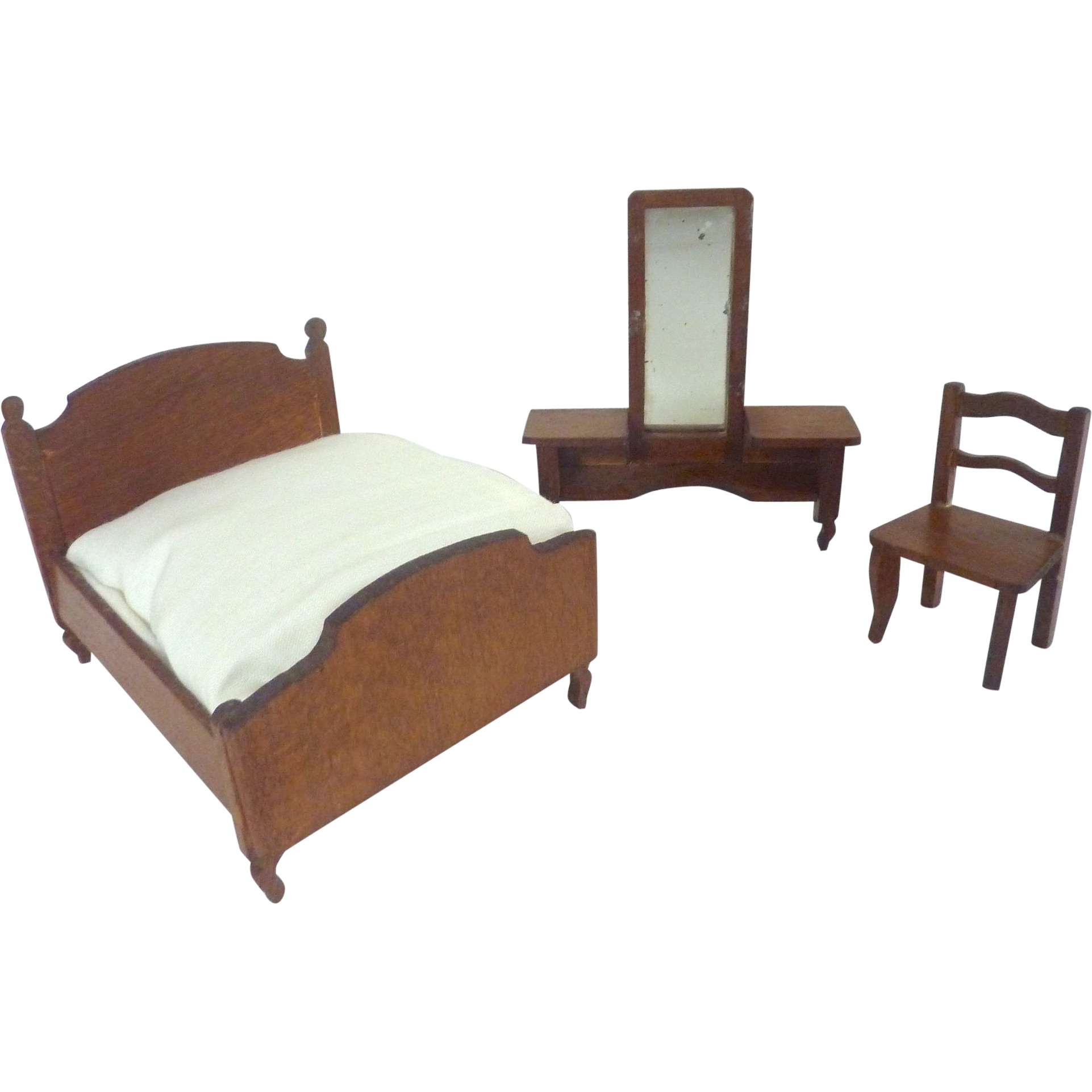 Miniature Dollhouse Bedroom Furniture Antique German Miniature Dollhouse Bedroom Set Of 3 Including Bed