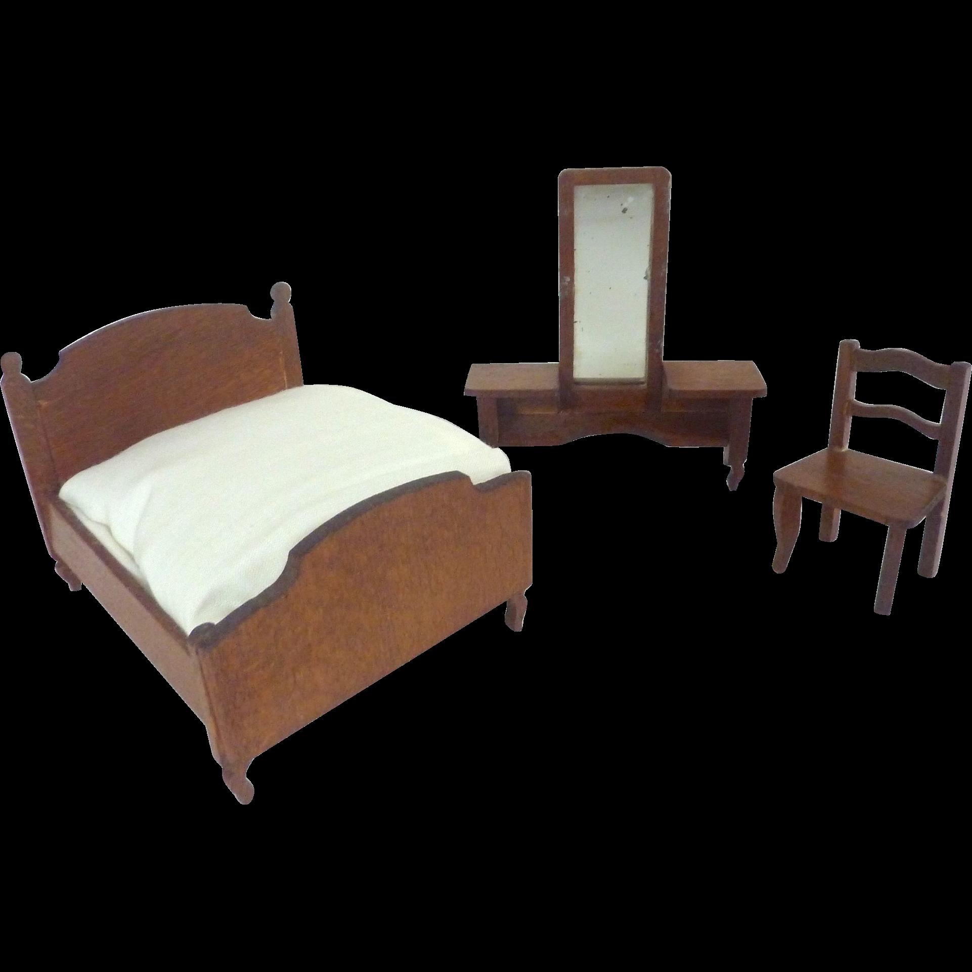 Antique German Miniature Dollhouse Bedroom Set Of 3