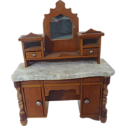 Antique GERMAN Miniature DOLLHOUSE Schneegas Marble Sideboard