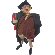 Whimsical Vintage 1950's ROLDAN Klumpe GRADUATE Graduation Spain Felt Cloth Doll