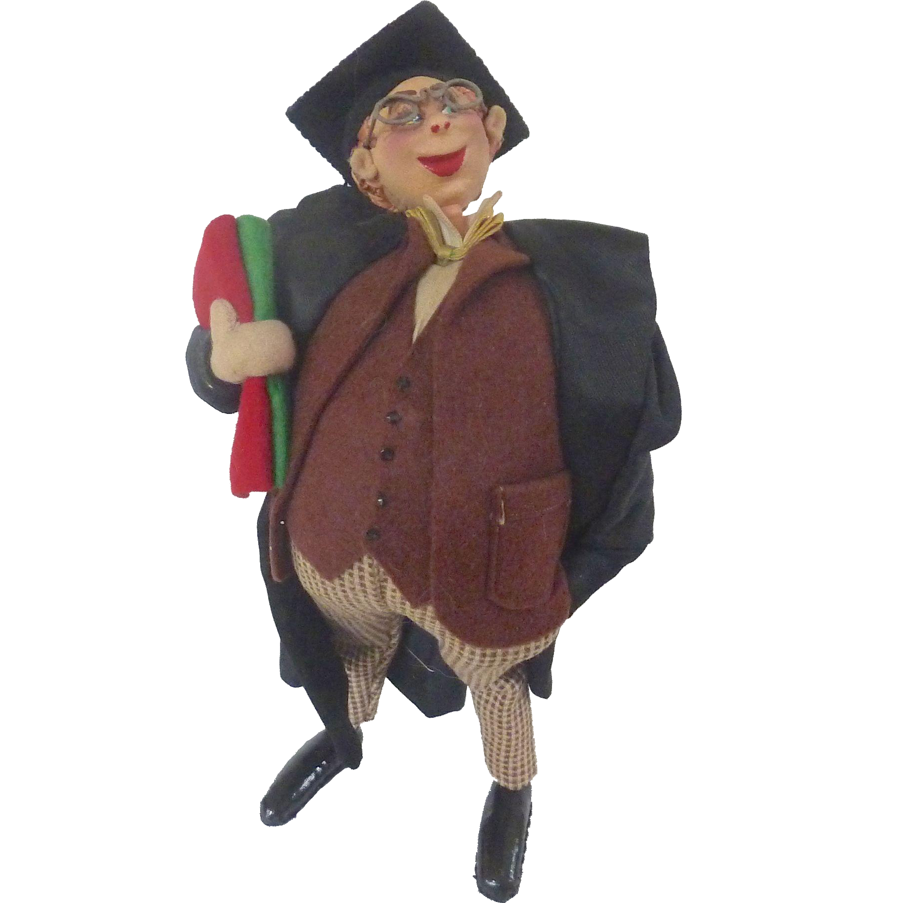 Whimsical Vintage 1950's ROLDAN Klumpe GRADUATE Graduation Spain Felt Cloth Doll