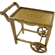 "Tootsie Toy Dollhouse Tea Cart GOLD Gilt Finish 1920s 1/2"" Scale"