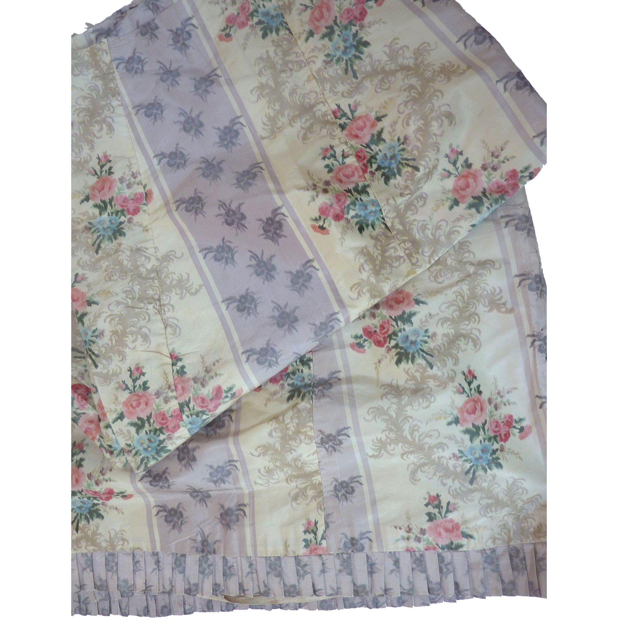 Yds antique french victorian floral watered silk taffeta for Victorian floral fabric