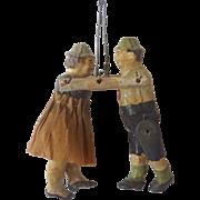 Antique GERMAN Papier Mache DANCING Couple CHRISTMAS Ornament