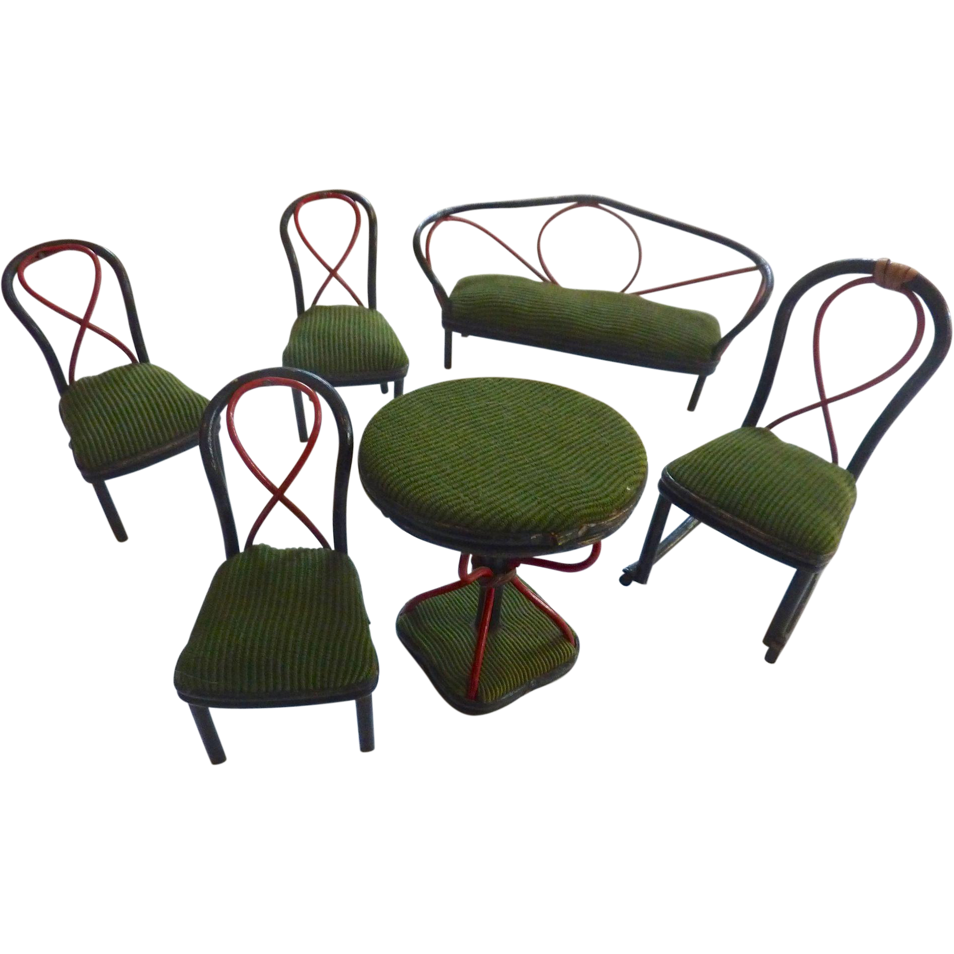 Antique GERMAN Bentwood Thonet Upholstered Ebony Dollhouse Furniture PARLOR Set