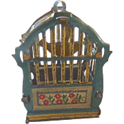 Antique GERMAN Meier Tin Penny Toy Miniature Dollhouse BIRD CAGE