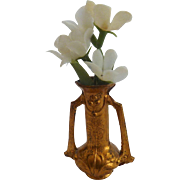 Antique GERMAN Erhard &Sohne DOLL HOUSE Miniature Ormolu DECO Vase w Flowers