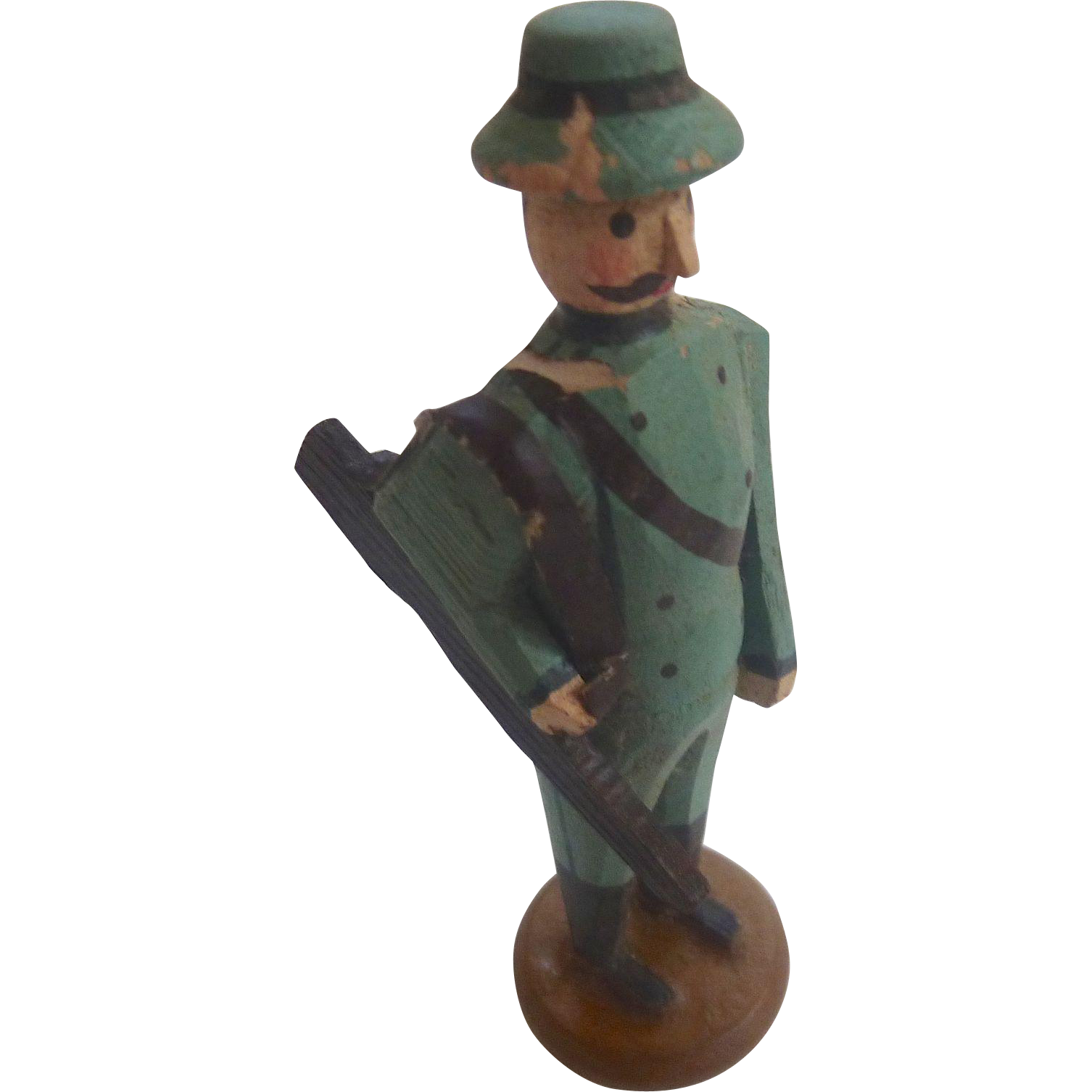 Rare Karl Muller GERMAN Erzgebirge PUTZ Hand Carved Toy HUNTER ~Museum Worthy~